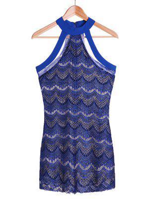 Ver-a Través El Vestido De Encaje Azul Zafiro - Azul Zafiro M