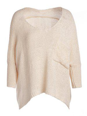 Open Knit Scoop Neck Oversized Sweater - Apricot
