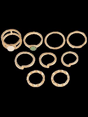 9 PCS anillos plateados oro de la piedra preciosa de la falsificación