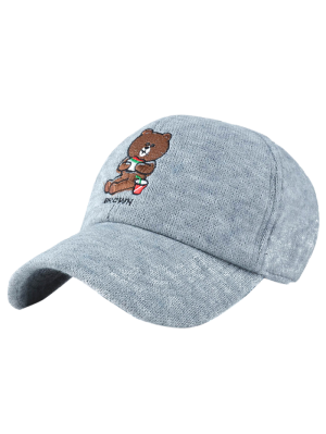 Cartoon Bear Embroidery Knit Baseball Hat - Light Gray