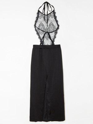 Vestido De Corpiño De Encaje Trasparente De Halter Con Espalda Abierta - Negro M