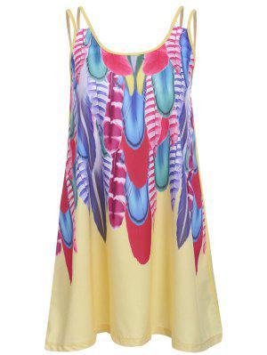 Feather Print Cami Dress - Yellow L