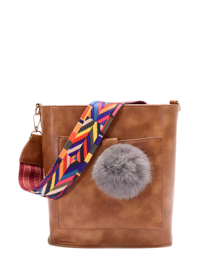 Colorful Strap Pompon Shoulder Bag