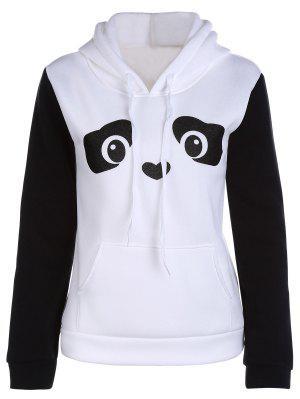 Panda Pattern Hooded Long Sleeve Hoodie - White Xl