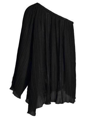 Black Chiffon Oblique Shoulder Long Sleeve Dress - Black M