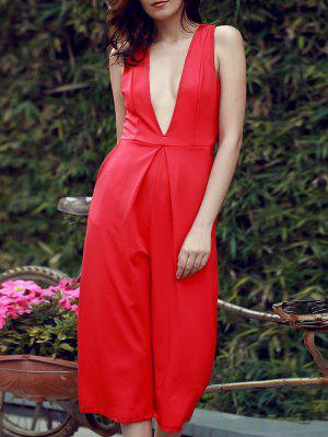 Plunging Neck Wide Leg Cropped Jumpsuit - Red S