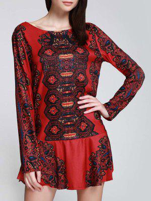 Vestido De Túnica Con Estampado Con Manga Larga - Rojo S