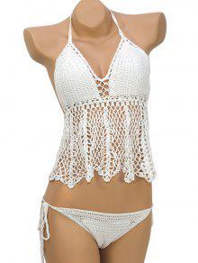 Flounce Halter Crochet Bikini Set - White L