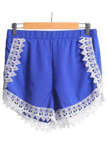 Pantalones Cortos De Cintura Elástico Azul De Encaje Empalmado - Azul Xl