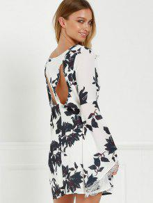 2019 Black Floral Long Sleeve Cut Out Dress In White And Black M Zaful