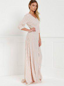 2019 Button Front Stripe 3 4 Sleeve Maxi Dress In Pink S Zaful