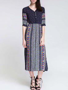 Tea Length Printed Side Slit Dress - Blue S