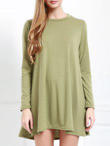 Long Sleeve Oco Voltar Vestido Verde - Verde L