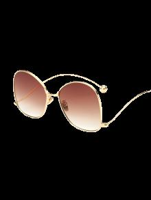 Small Ball Wave Leg Irregular Sunglasses - Golden