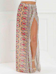 تنورة طويلة طباعة عالية الانقسام  - زهري L
