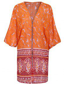 Paisley Print 3/4 Sleeves Kimono - Orange Xl