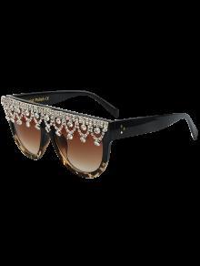 Colgante De Diamantes De Imitación De Leopardo Con Flecos Gafas De Sol Del Partido - Negro