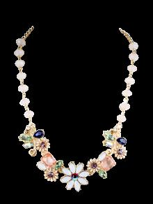 Faux Gem Flower Necklace - Golden