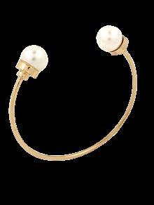 Buy Faux Pearl Alloy Beads Cuff Bracelet - GOLDEN