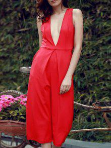 Plunging Neck Wide Leg Cropped Jumpsuit - Red M