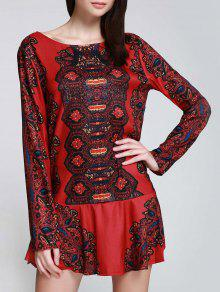 Long Sleeve Printed Tunic Dress - Red S