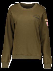 Patch Desigh Letter Sweatshirt - Army Green S