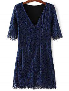 V-Neck Bodycon Lace Dress - Purplish Blue M