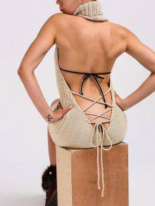فستان سويت محبوك كابل عارية الظهر عالية الرقبة - ضوء كاكي L