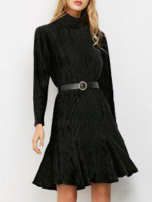 Côtelé Mock Neck Manches Longues Robe à Volants - Noir M