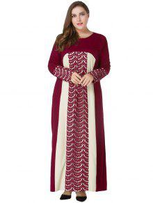 زائد حجم الدانتيل لوحة ماكسي فستان طويل الأكمام - نبيذ أحمر 5xl