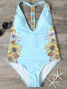 Sunflower Print Plunge Swimsuit - Light Blue M