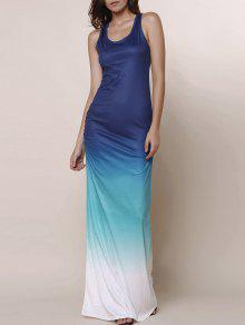 Ombre Color Scoop Neck Maxi Sundress - Blue L