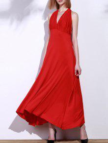 فستان ماكسي عارية الذراعين المكشوفة - أحمر M