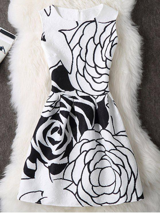 Rose -Drucken ärmelloses A- Linie Kleid - Weiß M