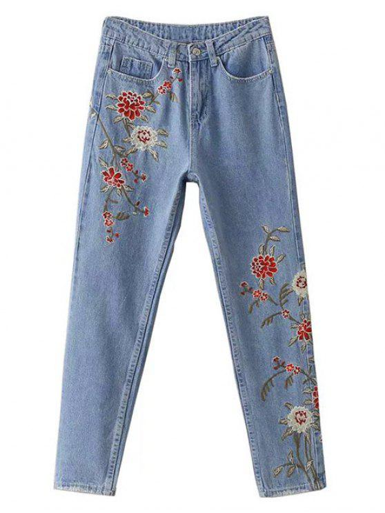 lady Retro Floral Embroidered Jeans - LIGHT BLUE L