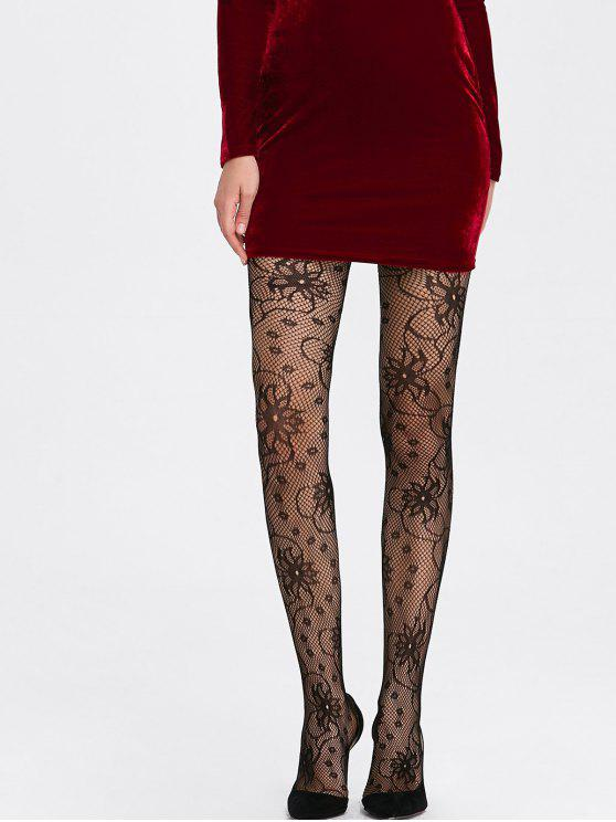 e542ad1d9 27% OFF  2019 Flower Pattern Fishnet Tights In BLACK