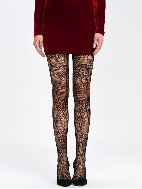 df8f38f93 21% OFF  2019 Flower Pattern Sheer Fishnet Tights In BLACK