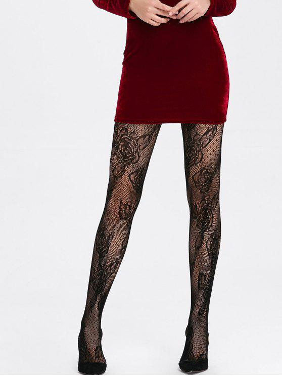 Rose Pattern Lace Crochet Fishnet Tights - Black