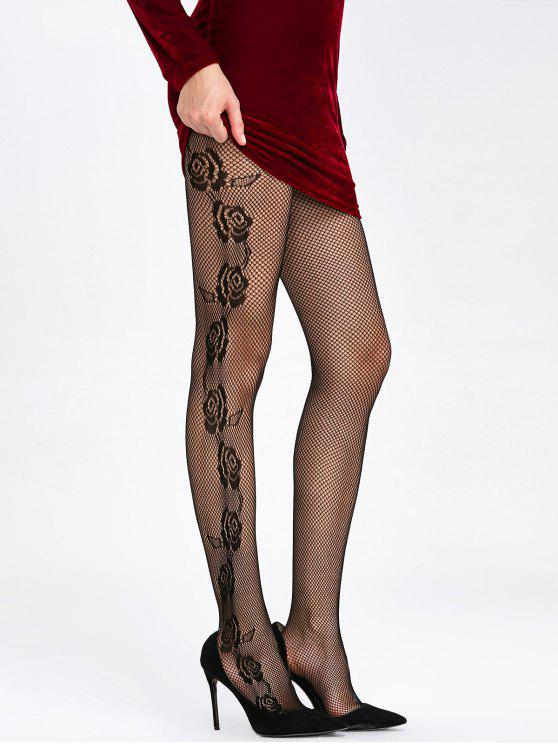 86ed97bd1729c 24% OFF] 2019 Rose Pattern Sheer Fishnet Tights In BLACK | ZAFUL