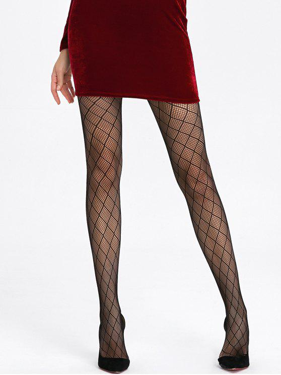 Plaid See Thru Fishnet Tights - Black
