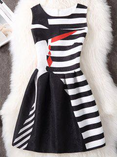 Striped Sleeveless A Line Mini Dress - White And Black M