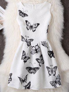 Impresión De La Mariposa Sin Mangas Mini Vestido - Blanco L