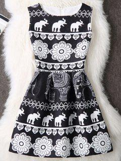 Elephant Print Sleeveless A Line Mini Dress - White And Black L