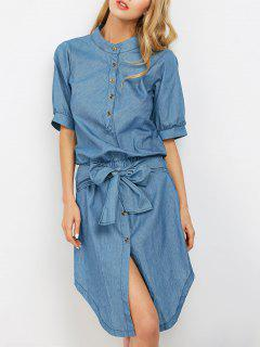 Casual Asymmetric Denim Dress - Light Blue S