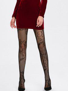 Flower Graphic See Through Fishnet Tights - Black