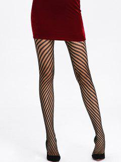 Stripe See Thru Collants - Noir