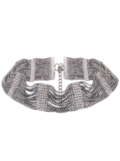 Rhinestone Choker Necklace - Gun Metal