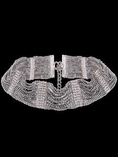 Collar Gargantilla De Diamantes De Imitación - Gun Metal