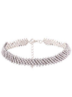 Rhinestoned Choker Necklace - Silver