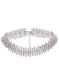 Adjustable Rhinestoned Choker Necklace - Silver
